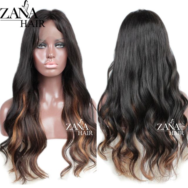 US $149.0 |Brazilian Virgin Human Hair Lace Front Wigs with Baby Hair Ombre  Lace Wig Highlight Color Full Lace Human Hair Wigs for Women -in Human ...
