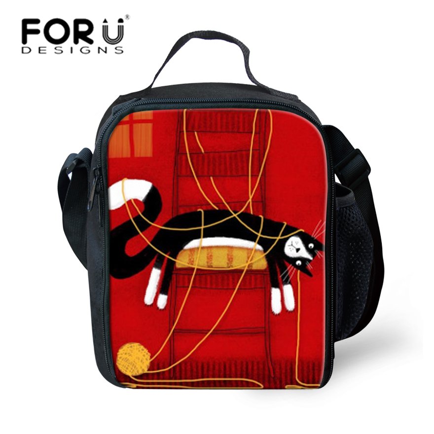 FORUDESIGNS Fashion Animals 3D Printed Cat Cartoon Lunch Bag Children Cute Leisure Bag f ...