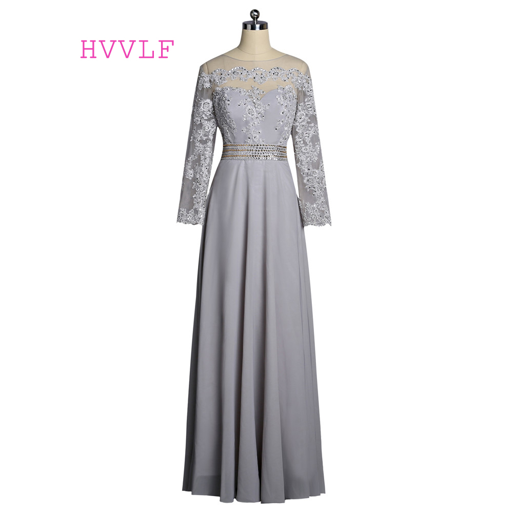 Silver 2019   Prom     Dresses   A-line Long Sleeves Chiffon Lace Beaded See Through Long Evening   Dresses   Evening Gown Robe De Soiree