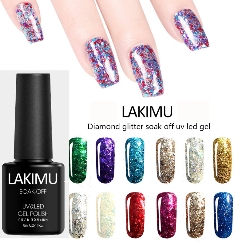 LAKIMU Shimmer Glitter Diamond 8ml UV Gel Nail Polish Hybrid Gel Varnish Long Lasting Gel Polish Soak Off Gel Lacquer Uv Colors