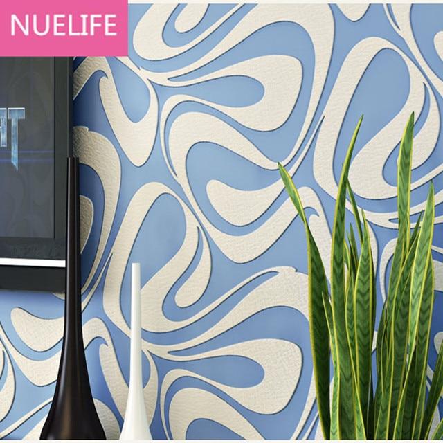 0,53x10 Mt Moderne Geometrischen Abstrakten Welle Muster Tapete Wohnzimmer  Schlafzimmer Tv Hintergrund Blau Grau