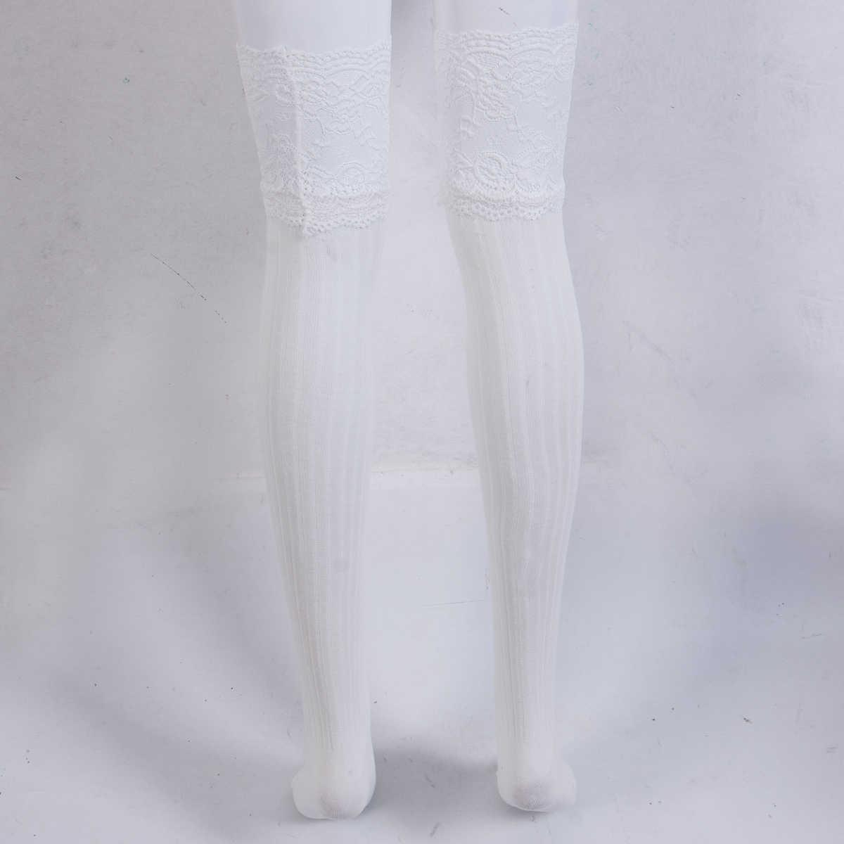 Moda damska rajstopy udo wysoki pończochy koronkowe Top rajstopy