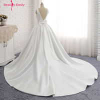 Beauty Emily Ivory Stain Elegent Wedding Dresses 2018 Floor Length O Neck Backless Customized Plus Size Bridal Dress Real Photo