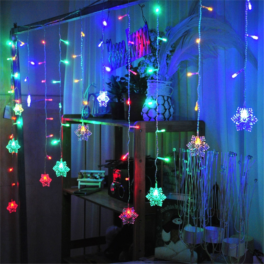christmas window lights snow shape led curtain string 3m 96leds 16 drop lines 30078