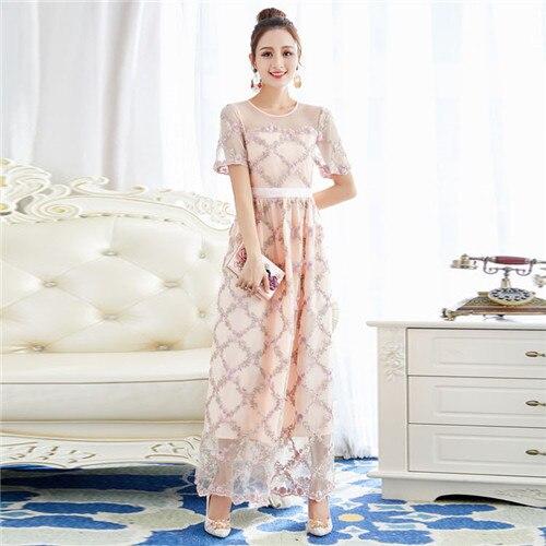 Mode simple haut stylé marque femmes maille brodé plaid manches courtes élégante longue maxi robe longueur cheville bleu abricot xl
