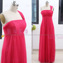 Fuchsia A-Line One Shoulder Floor-Length Tulle Prom Party Formal Evening  Dress M 262096 ee34c001369c