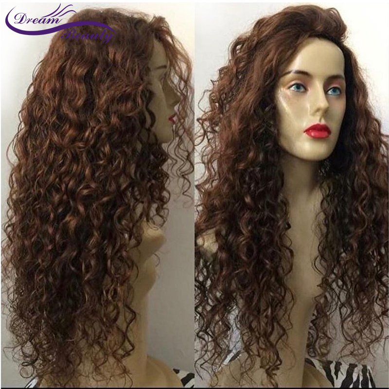 130 Density Lace Frontal Wig Pre Plucked With Baby Hair Dream Beauty Hair Brazilian Remy Curly