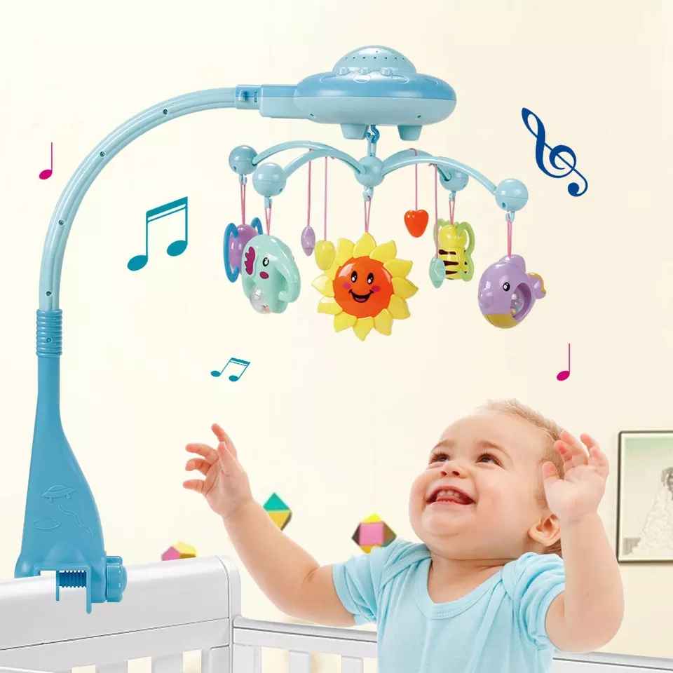 Baby Rattles Toy 0-12 Months Crib Mobile Musical Bed Bell With Sky Stars Rattles Projection Cartoon Early Learning Kids Toys baby musical crib mobile bed bell baby hanging rattles rotating bracket projecting toys for 0 12 months newborn kids gift