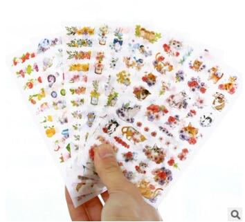6 pcs/set Cute Cats Flowers Cartoon Animals Sticker PVC Cartoon Stickers Diary Sticker Scrapbook Decoration Stationery Stickers цена и фото