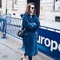 Azul à moda da Camurça Do Falso Emendados Casaco De Pele Falso 2016 Outono Inverno Mulheres Com Capuz Faux Casacos de Peles De Médio Longo Solto Outerwear