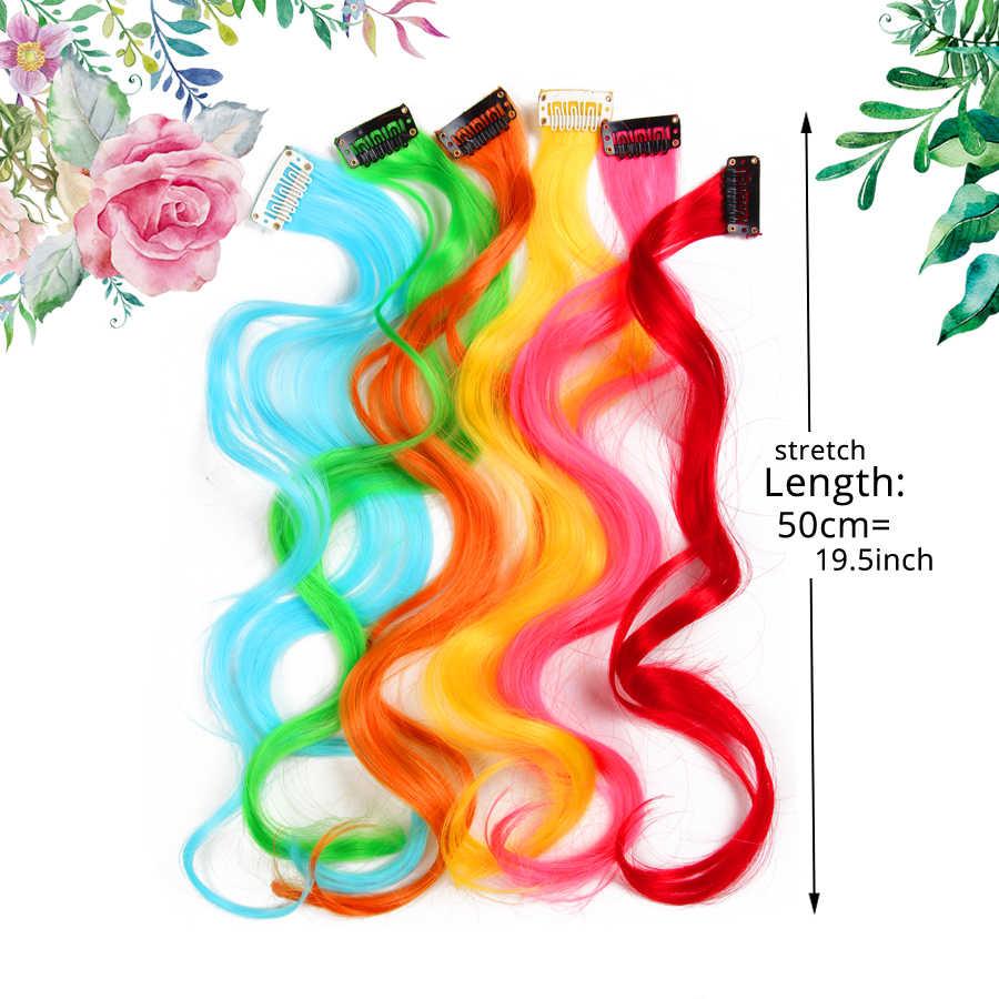 """Alileader объемная волна Длинные Синтетические волосы клип в один кусок для Ombre Наращивание волос 20 """"50 см красный синий розовый Радуга чистый цвет"""