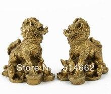 Feng Shui Brass statue Pair Money CHILIN