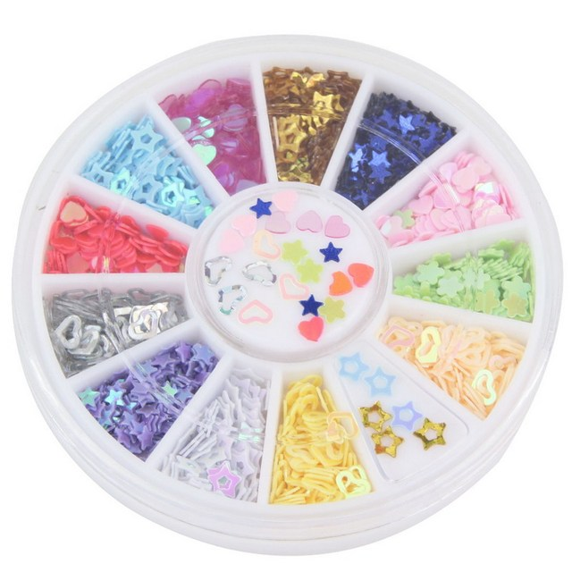 New Arrival! 12 Colors Mix Star & Heart Design Nail Art