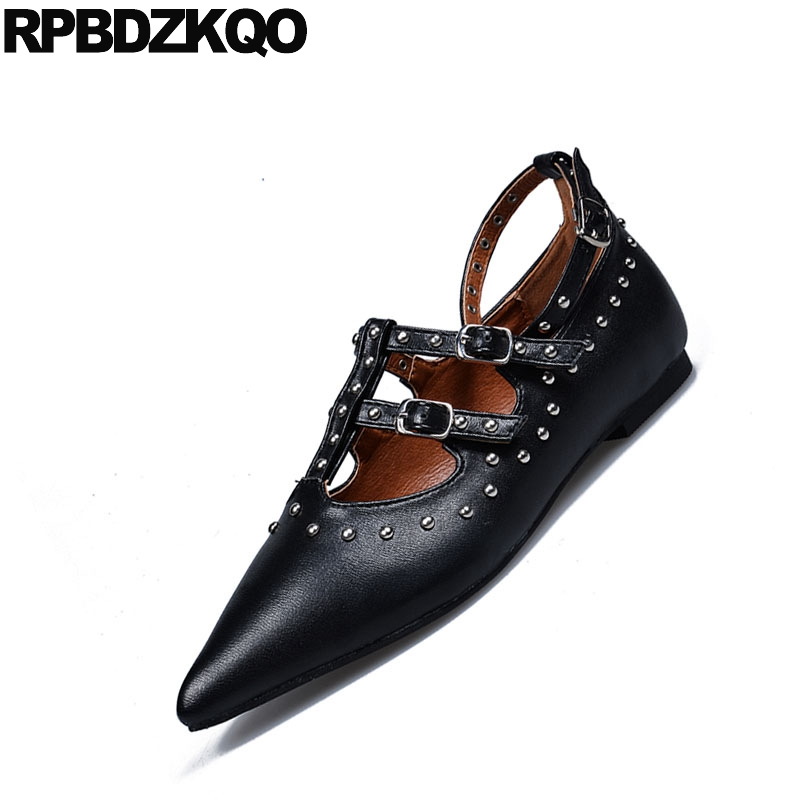 d504abb118 Brand Rivet Ladies Black Metal Flats Italian Runway Stud Designer Shoes  Women Luxury 2018 Ankle Strap Pointed Toe Red T Belts-in Women s Flats from  Shoes on ...