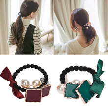 Hot Cute Women Girls Square Pearls Elastic Hair Bands Ponytail Holder Hair Jewellery 1 55 ponytail