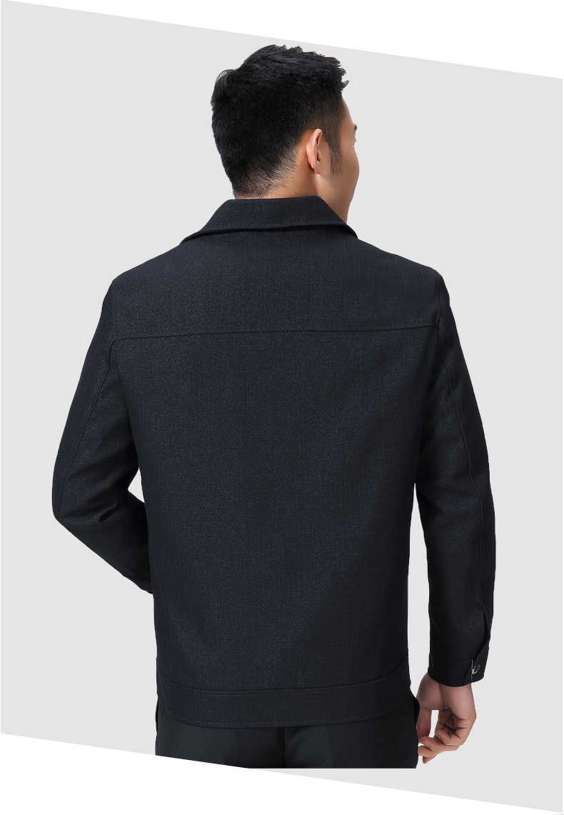 Mature Man Casual Jacket Black Navy Blue Solid Colour Basic Coat Male Turn Down Collar Zipper Front Outerwear Mens Spring Autumn Coats (8)
