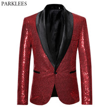 Shiny Red Sequin Bling Glitter Blazer Jacket Men 2019 New Shawl Collar One Button Nightclub Party Prom DJ Rock and Roll Costumes(China)