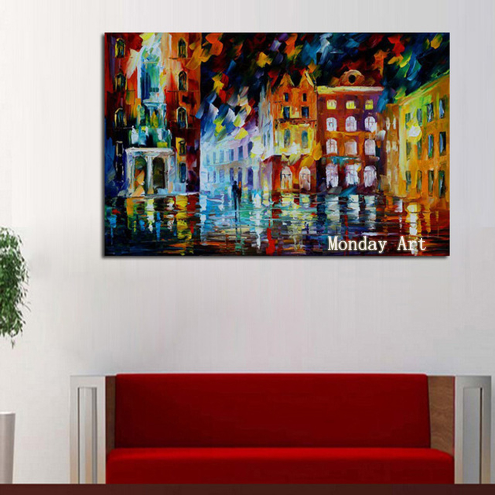 Knife Hand Painted Abstract artwork Home Decoration light Tree Oil Painting Modern Canvas Landscape art Picture For Living Room in Painting Calligraphy from Home Garden