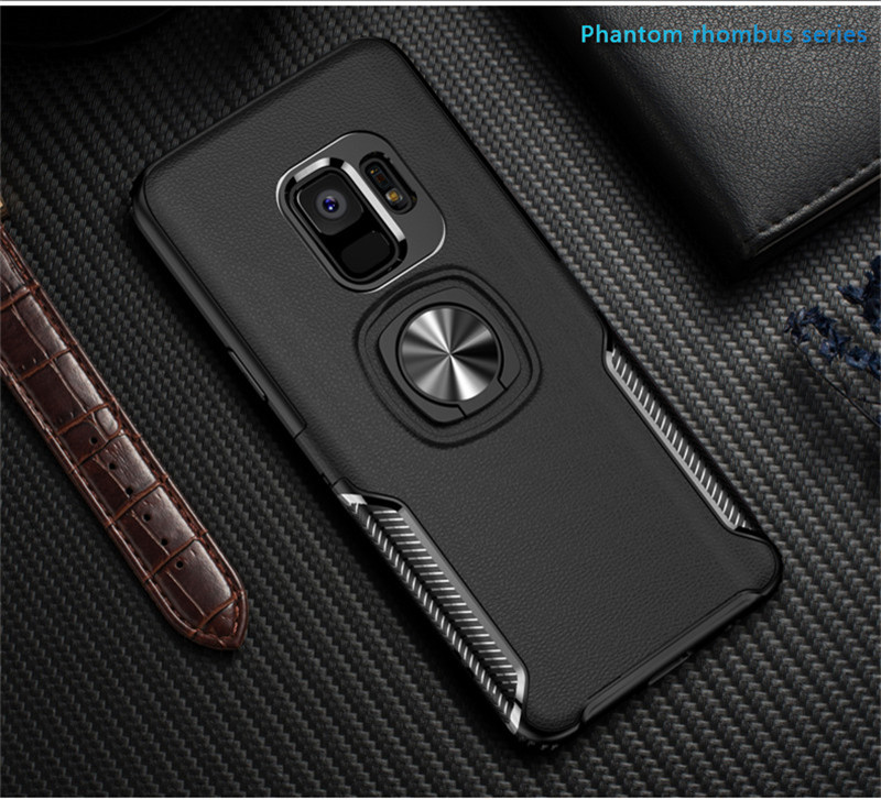 HTB12abEayfrK1RjSspbq6A4pFXau Leather Texture Stand Case For Samsung Galaxy S9 S8 S10 Plus Note 10 9 8 Ring Holder Magnetic Armor Cover For J4 J6 J8 A8 2018