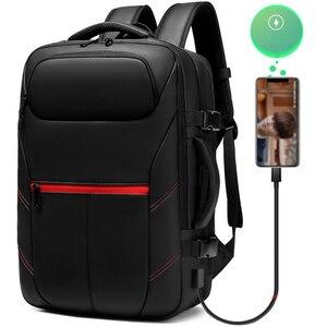 Image 3 - حقيبة السفر سعة كبيرة الذكور Mochila حقيبة الظهر القابلة للتوسيع مع USB شحن حقيبة كمبيوتر محمول على ظهره مقاوم للماء متعددة الوظائف