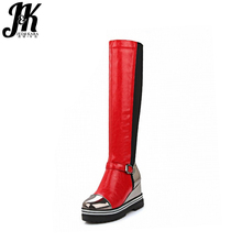 Fashion New Knight Knee High Boots Stylish Mixed Colors Buckle Charm Wedges Shoes Platform Fall Winter