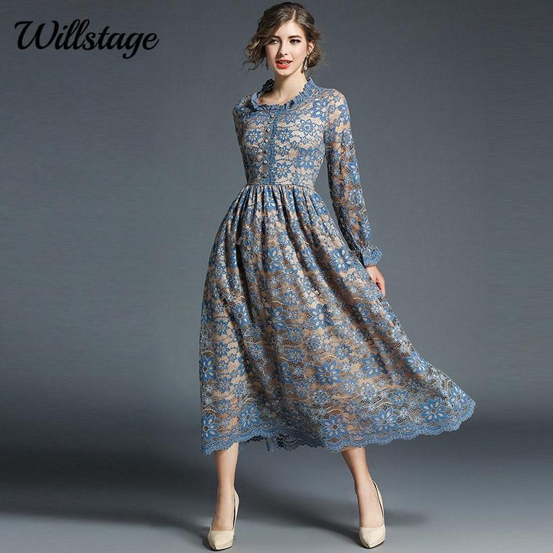 Willstage 2018 Autumn Lace Women Shirt Dress Long Sleeves Work Casual Slim Fashion A line Slim Vintage Elegant Dresses Vestidos