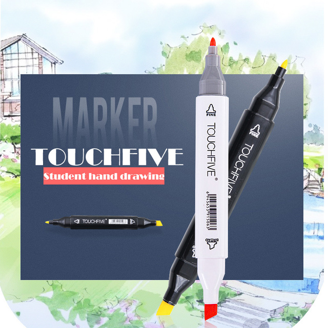 TouchFIVE markers pen Set 30 40 60 80 168Colors Animation Sketch Drawing Art Alcohol Anime brush pen color marker (Black marker) 3