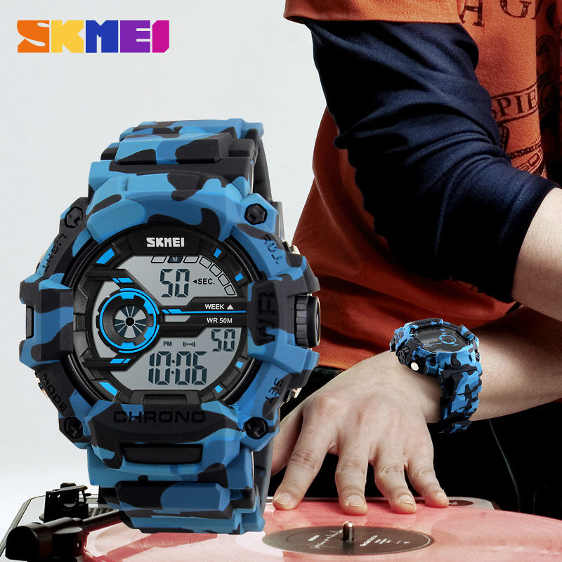 SKMEI Camo Blue Sport watches For Men Fashion Brand Men Watch Chronograph Army Digital Wristwatch Military Camouflage Green 1233 2018 new fashion original brand sport watch men watches skmei wristwatch gift 1 2 5 1 and 1 2 99 model only for vip gabriel