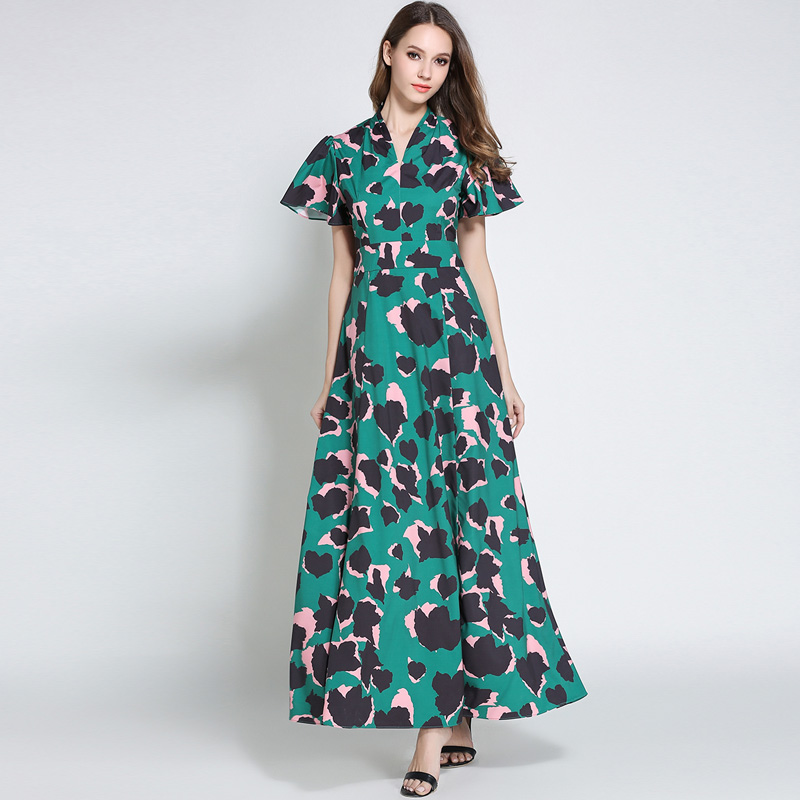 Europe Fashion Runway Long Vestidos 2017 New Women Camouflage Leopard Print V-neck Party Dress Ladies Maxi Dresses