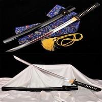 Japanese handmade Wakizashi katana Full Tang 1065 steel Alloy fittings samurai sword collection black Alloy fittings