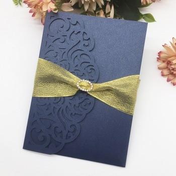 50pcs/lot Tri-Folded Laser Cut Wedding Invitation With Luxury Ribbon Elegant Wedding Card Birthday Party Invite RSVP Card