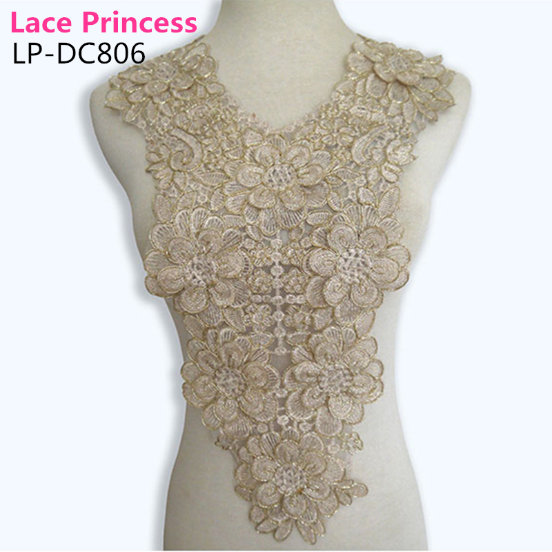 LP-DC806 gold polyester Embroidered venise lace collar lace trim - Arts, Crafts and Sewing