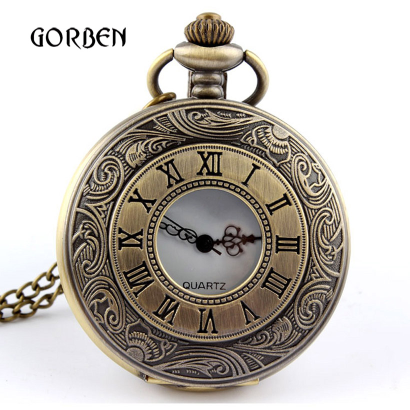 2020  Classic Bronze Mens Pocket Watch necklace Chain Vintage Carving Pocket Fob Watches Mens Gifts Relogio De Bolso