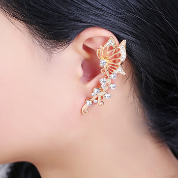 Gold Color Full Rhinestone Elves Butterfly Ear Clip Earrings Charm For Women Ear Cuff Party Club Fashion Jewelry Gift золотые серьги по уху