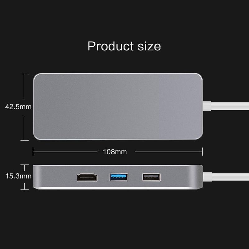 7 in 1 USB-C Type C HUB to HDMI SD TF Card Reader USB 3.0 RJ45 PD Charging Adapter for MacBook Samsung Galaxy USB-C Hub ugreen usb hub all in one usb c to hdmi vga card reader rj45 pd adapter for macbook samsung galaxy s9 s8 s8 type c hub usb 3 0