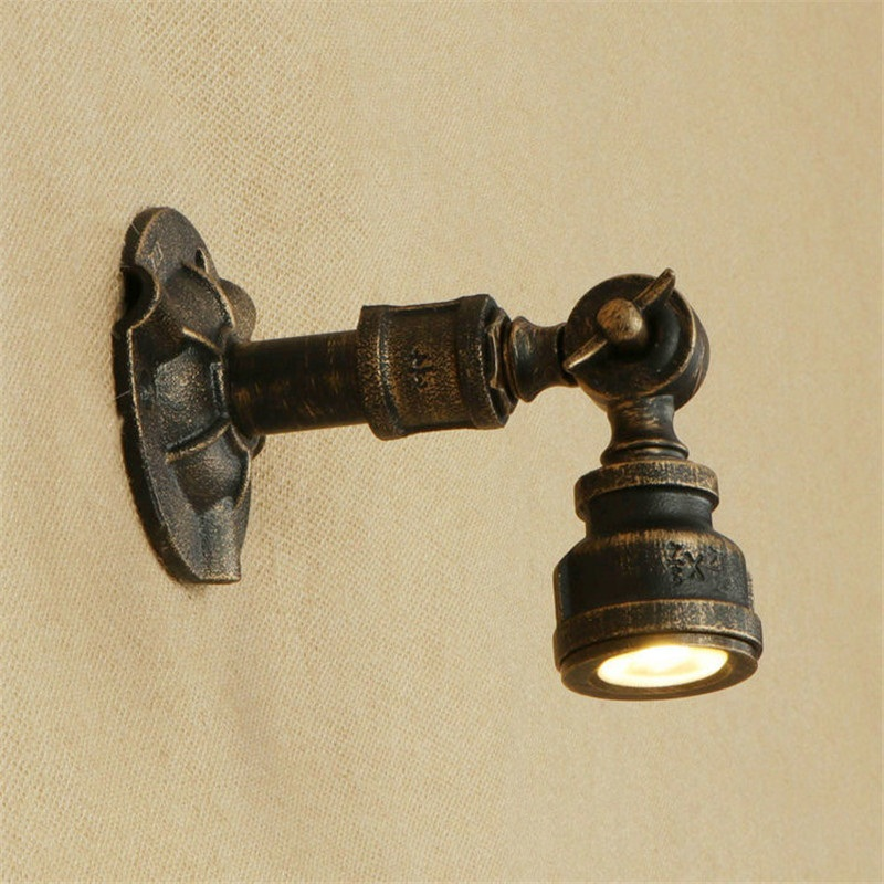 American Iron Rotating Water Pipe Lamp LED Wall Sconce Antique Loft Style Industrial Vintage Wall Light Fixtures Lampara Pared american country industrial style wall lights loft 3 heads water pipe wall sconce vintage bronze wall lamp iron art lustre