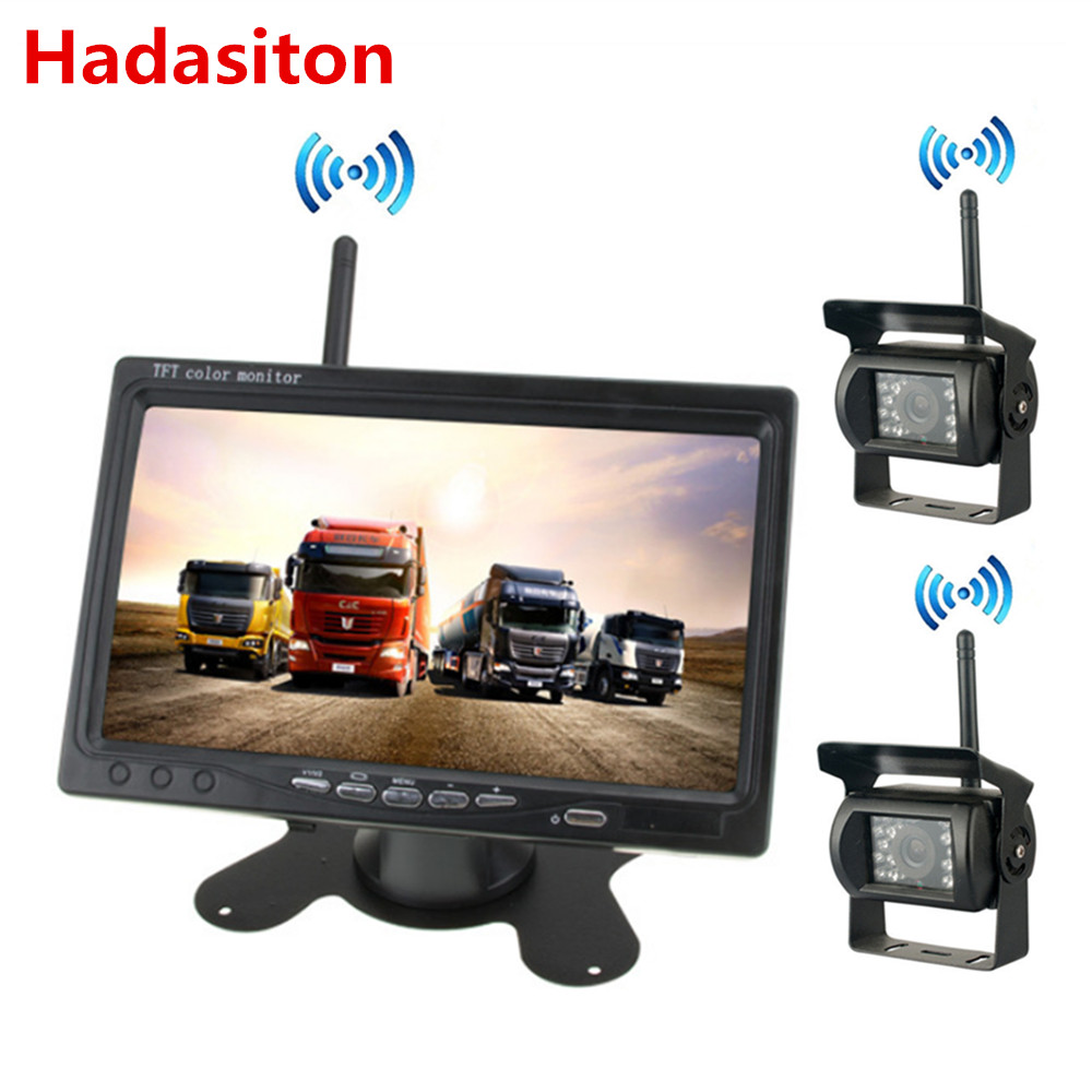 Wireless monitor kits 7 HD screen Car Monitor Night vision Rearview camera For RV Truck Bus