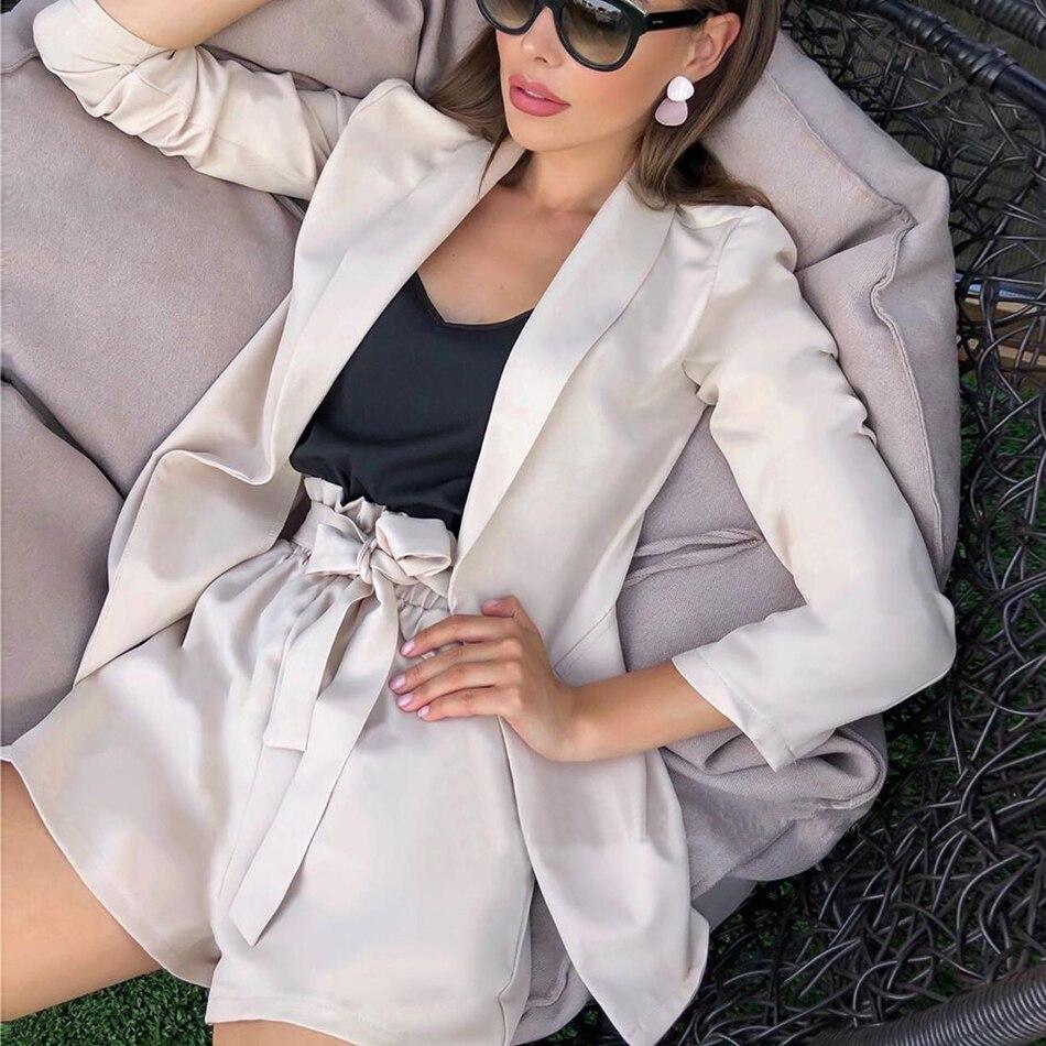 93c266d7ab3e 2019 verano nuevo sexy rojo albaricoque mujeres traje de manga larga  chaqueta pantalones cortos ...
