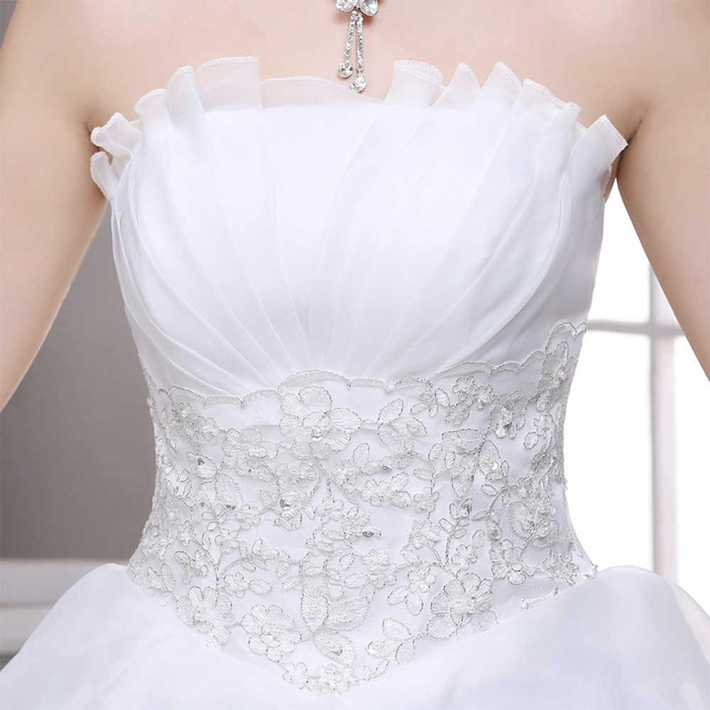Fansmile Vestido דה Noiva קוריאני תחרה עד כדור שמלת חתונת שמלות 2019 מותאם אישית בתוספת גודל כלה שמלת תמונה אמיתית FSM-597F