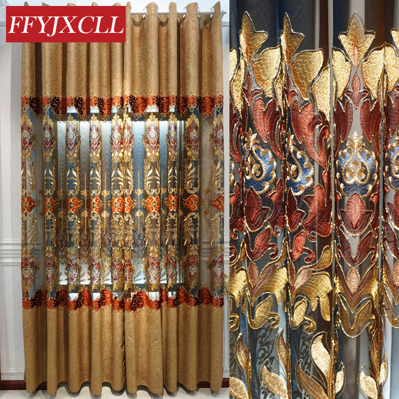 Embroidered Blue Brown Luxury Europe Curtains For Living Room Bedroom Window Tulle Curtains Drapes Decoration Window Screening