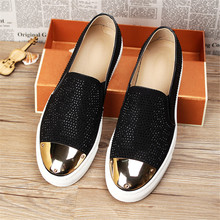 New Europe Style Genuine Leather Crystals metal Men Shoes Flats Loafers Lazy Shoes Male Zapatillas Hombre Big Size Men Shoes