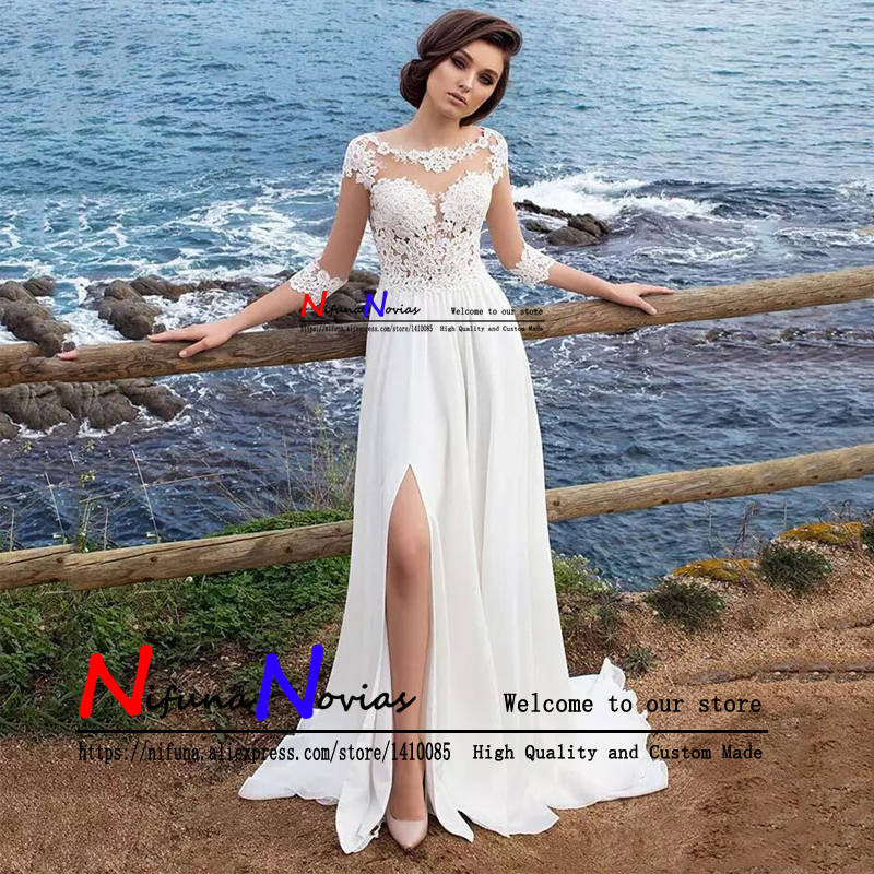 Cheap 3 4 Sleeve Wedding Dresses: Robe De Mariage Cheap Beach Wedding Dress 2019 Sexy Sheer