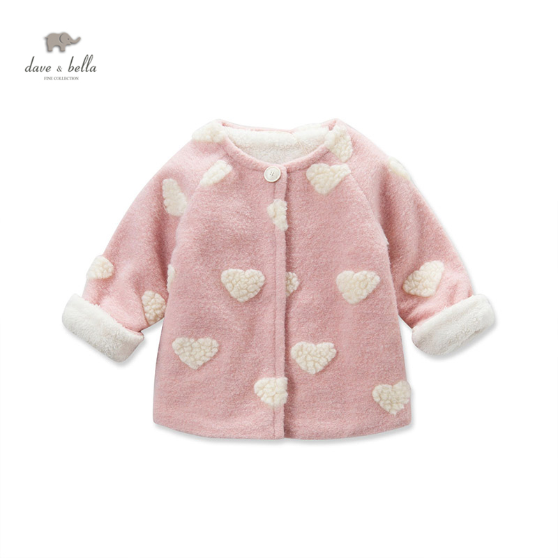 DB3624 dave bella baby girls cute bear pink coat heart wool blends girls coat polymer blends