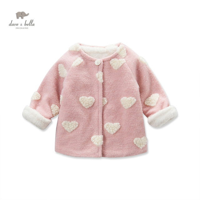 DB3624 dave bella  baby girls cute bear pink coat  heart wool blends girls  coat