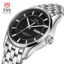 TSS автоматические механические часы мужчины часы из нержавеющей стали мужская мода часы водонепроницаемые Бизнес полые часы сапфир