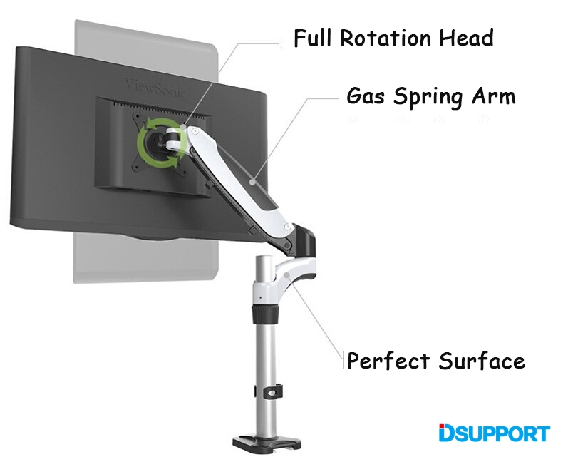 Gas Spring Full Motion Desktop Clamping TV Mount Flexible 15 27 quot LCD LED Monitor Holder Arm Loading 0 8kgs in Monitor Holder from Computer amp Office
