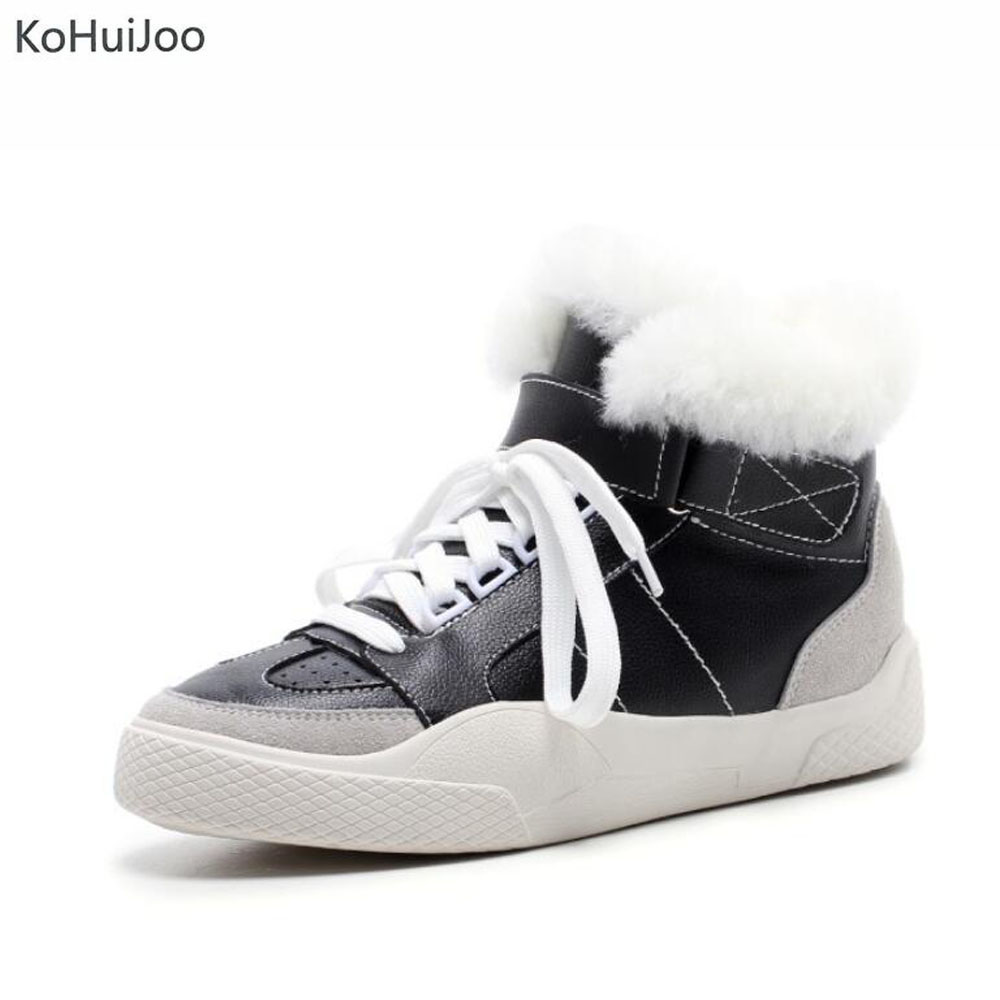 KoHuiJoo Women Winter Sneakers for Women Wool Fur Warm Plush Women Lace up Genuine Leather Shoes Ladu Patchwork Lofers Big size glowing sneakers usb charging shoes lights up colorful led kids luminous sneakers glowing sneakers black led shoes for boys