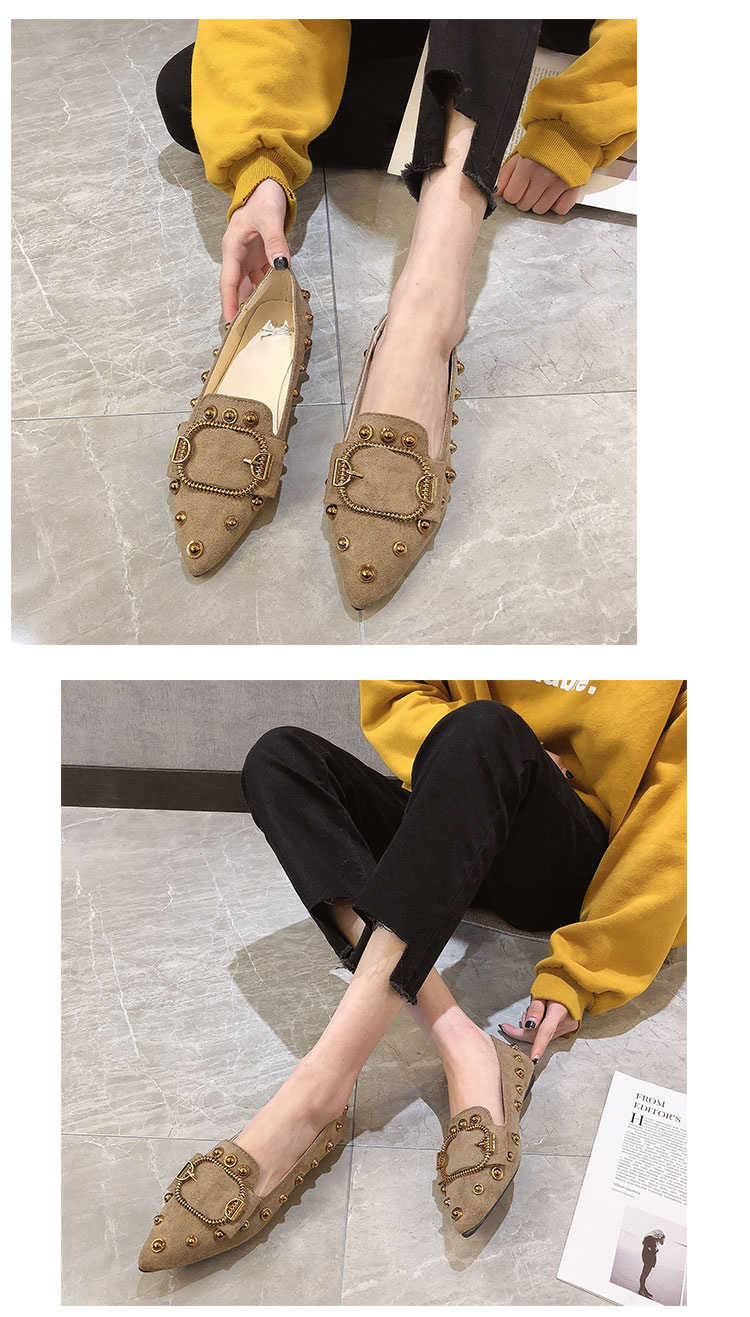 Women single shoes female Brand 2019 spring new pointed Ladies fashion wild rivets shallow mouth black high quality work shoe 10