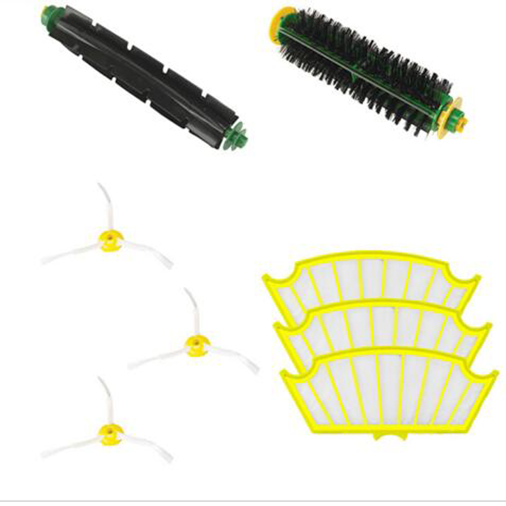 8Pc/lot 3 Arms Sidebrush +filter kit replacement  for  Irobot Roomba 500 527 528 530 532 535 540 555 560 562 570 572 580 581 590