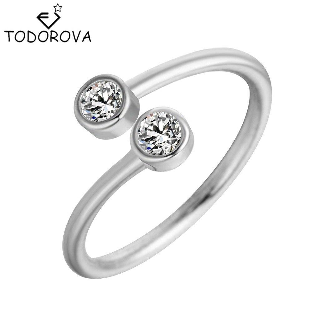 Купить на aliexpress Todorova/кольца из стерлингового серебра 925 пробы с кристаллами для женщин, Изящные Ювелирные изделия, регулируемое двойное круглое кольцо CZ, от...